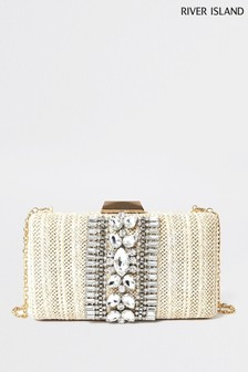 River Island Beige Embellished Box Clutch Bag