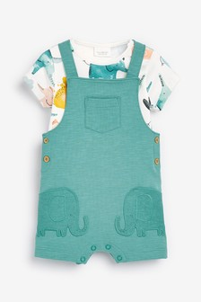 Stretch Jersey Elephant Dungarees And Bodysuit Set (0mths-2yrs)