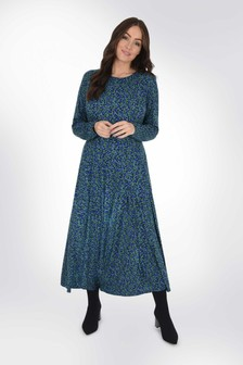 Live Unlimited Curve Blue Ditsy Panelled Jersey Dress