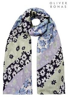 Oliver Bonas綠色斜紋美女花輕盈圍巾