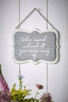 Relax Bathroom Hanging Sign