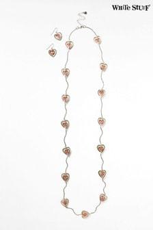 White Stuff Ripple Heart Semi Precious Jewellery Set