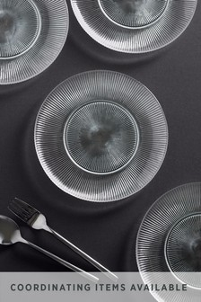 Embossed Glass Set of 4 Side Plates