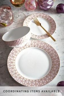12 Piece Rose Gold Paris Metallic Dinner Set