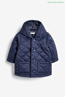 Benetton Steppmantel, marineblau