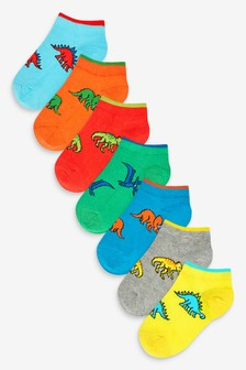 7 Pack Cotton Rich Dinosaur Trainer Socks (Younger)