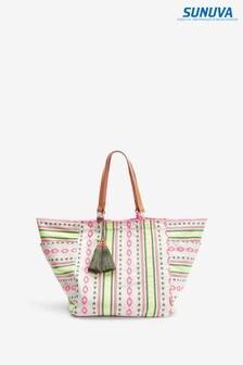 Sunuva White Tribal Stripe Beach Bag