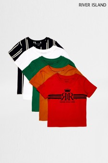 River Island Bright Multipack Print T-Shirts Five Pack