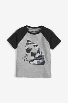 Tričko s krátkymi rukávmi so stavebným autom a flitrami (9 mes. – 7 rok.)