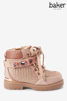 Baker By Ted Baker Pink Jewel Lace-Up Boots