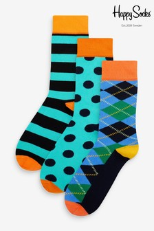 Happy Socks Blue Argyle Pattern Socks Three Pack
