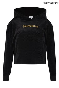 Juicy Couture Cropped Textured Velour Hoody