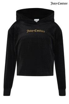 Juicy Couture Kurzes, strukturiertes Velours-Kapuzensweatshirt