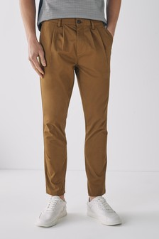 Twin Pleat Stretch Chino Trousers