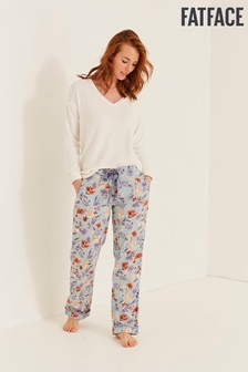 FatFace Green Bunny Floral Classic Pants