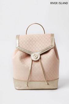 River Island Pink Light Metallic Jacquard Backpack
