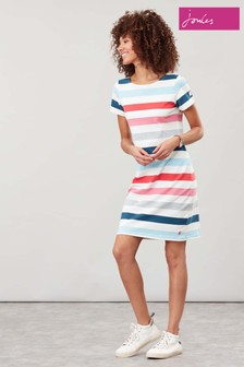 Joules Cream Riviera Short Sleeve Jersey Dress