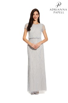 Adrianna Papell Blue Blouson Beaded Dress