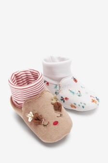 2 Pack Cotton Rich Baby Booties (0-18mths)