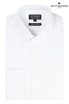 Jeff Banks White Small Jacquard Design Shirt Point Collar