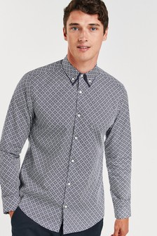 Geo Print Double Collar Shirt