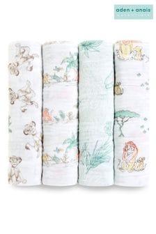 aden + anais Disney™ Baby The Lion King Große Pucktücher aus Baumwoll-Musselin im Viererpack
