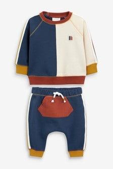 Толстовка и спортивные брюки в стиле колор блок  (0 мес. - 3 лет)