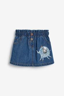 Джинсовая юбка с присборенной талией и персонажем (3 мес.-7 лет)