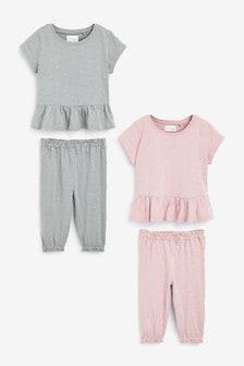 総柄 刺繍入り ペプラム トップ コットン パジャマ 2 枚組 (9 か月~8 歳)