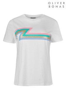 חולצת טי עם פסים של Oliver Bonas דגם Bruno בלבן