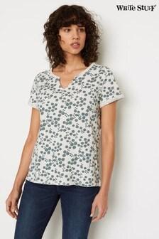 חולצת טי ג'רזי של White Stuff בצבע טבעי עם הדפס פרחוני