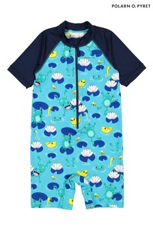 Polarn O. Pyret Blue Sunsafe Frog Print Swimsuit