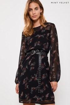 Mint Velvet Black Rosemary Floral Mini Dress