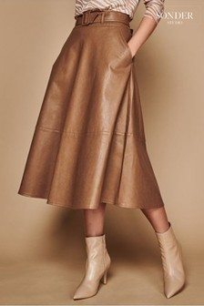 Sonder Studio Brown PU Belted Skirt