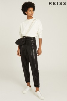 Reiss Black Abby High Waisted Shimmer Trousers