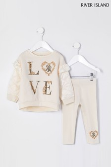 River Island Ecru Love Quilt Sleeve Sweat Tops Set