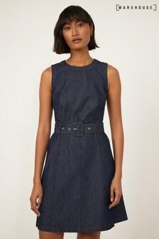 Warehouse Blue Sleeveless Belted Swing Dress