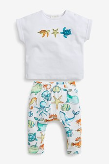 Organic Cotton Sea Life T-Shirt And Legging Set (0mths-2yrs)