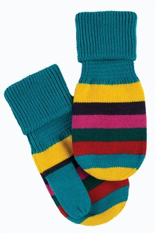 Frugi GOTS Organic Cotton Blue Stripe Mittens
