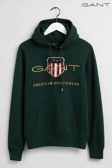 Gant綠色Archive盾牌標誌連帽上衣
