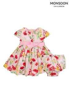 שמלה של Monsoon ניו בורן תינוקות בורוד עם הדפס כלניות