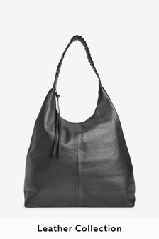 Woven Detail Leather Hobo Bag
