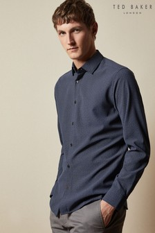 Ted Baker blauw Offme overhemd met lange mouwen en geometrische print