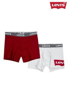 Levi's® ホワイト/レッド バットウィング ボクサー 2枚パック