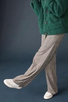 מכנסיים עם קשירה מאריג מעורב
