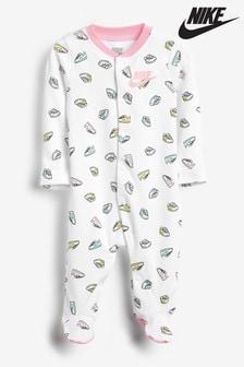 Costum întreg pentru bebeluși cu logo și imprimeu Nike alb