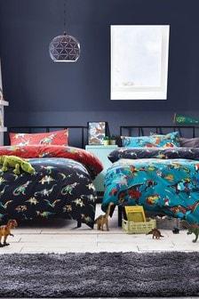 潑漆恐龍雙面被套和枕頭套2件組