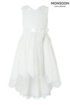 Monsoon Cream Rebecca Lilly Lace Hi Low Dress