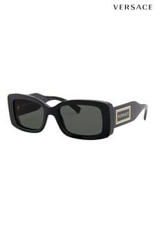 Czarne prostokątne okulary przeciwsłoneczne Versace