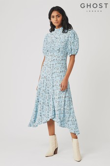 Ghost London Blue Jenna Larrson Bloom Printed Crepe Dress